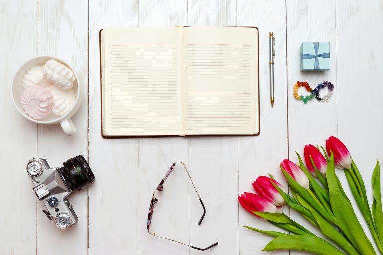 Inspiring desktop of girl's working as writer
